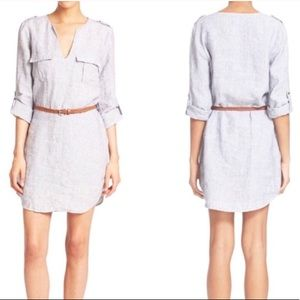 Joie chambray cotton linen belted tunic dress